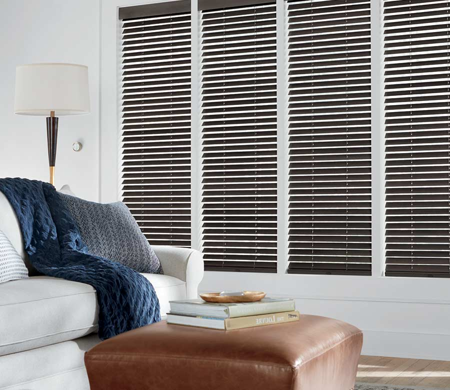 brown wood blinds in white living room