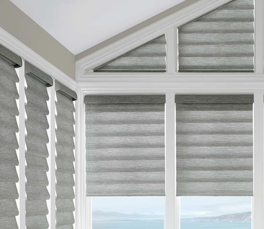 gray shades framed by white beams