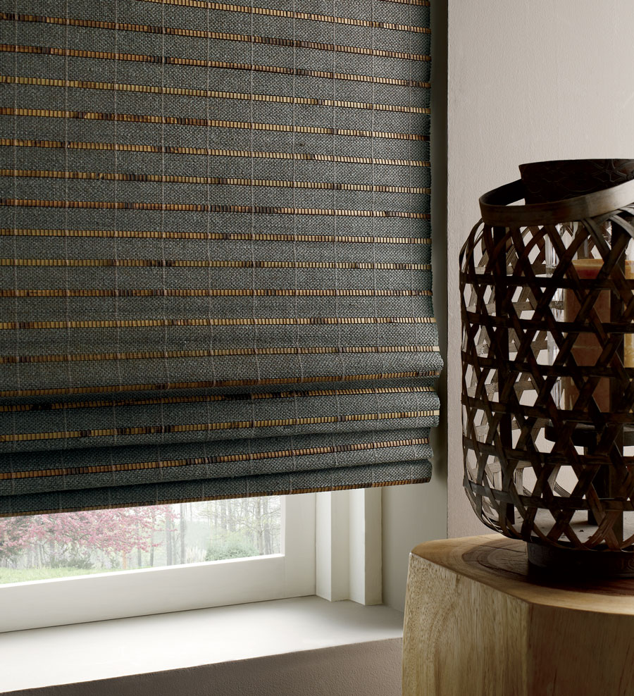 Dark woven woods window shades